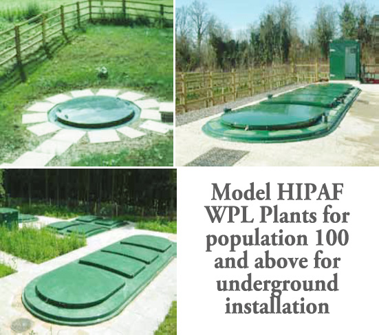 MODEL HIPAF WPL PLANTS FOR POPULATION 100 AND ABOVE FOR UNDERGROUND INSTALLATION